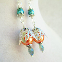 Orange & Teal Glass Pearls and Crystals Dangly Victorian Style Earrings