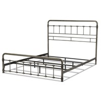 Fremont Snap Bed with Rounded Edge Panels and Folding Metal Side Rails, Weathered Nickel Finish, Full - Walmart.com