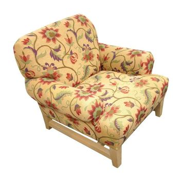 Pre-owned Floral Custom Upholstered Armchairs - Set of 4