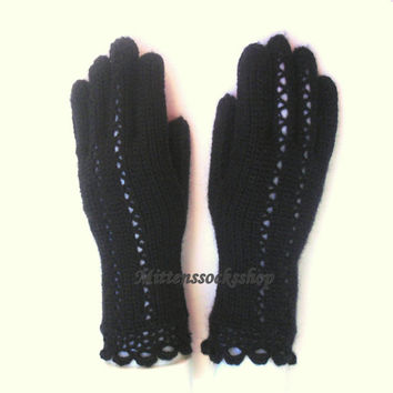 Hand knitted Gloves With Fingers.Gift for woman.Spring/Autumn/Winter gloves.Elegant black gloves with fingers.Gift idea.Ready for shipment