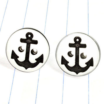 anchor button earrings - anchor earrings - anchor studs - anchor jewelry - anchor - nautical earrings - nautical studs - nautical jewelry