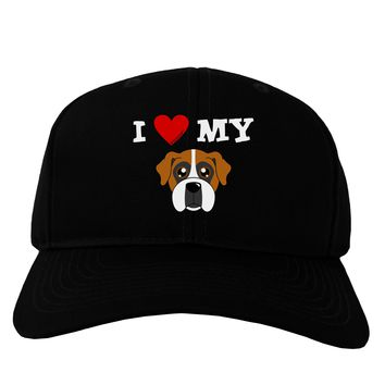 I Heart My - Cute Boxer Dog Adult Dark Baseball Cap Hat by TooLoud