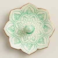 Small Green Lotus Ring Holder