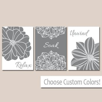 Gray BATHROOM WALL Art, Canvas or Print Flower  Bathroom Pictures, Gray Relax Soak Unwind Quote Words Flower Decor  Set of 3 Home Decor