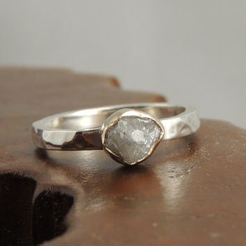 Rough Diamond Engagement 14k Gold and Sterling Silver, Alternative Engagment, Raw Diamond, Conflict Free Diamond, Eco Friendly Wedding