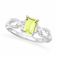 Sterling Silver Peridot and White Topaz Ring