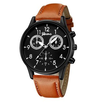 Moment # L05 2018 Fashion Life Waterproof Men's Leather Buckle Round Military Casual Analog Quartz Wrist Watch Business Watches