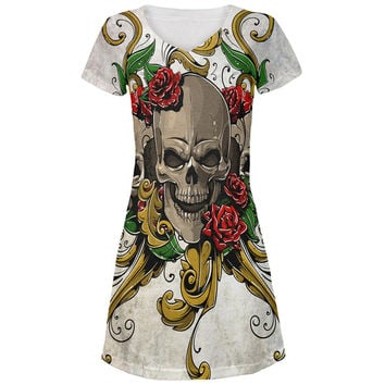 Skulls and Roses Metal Tattoo All Over Juniors V-Neck Dress