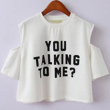 Are You Talking To Me? Cut-Out Shoulder White Crop Top