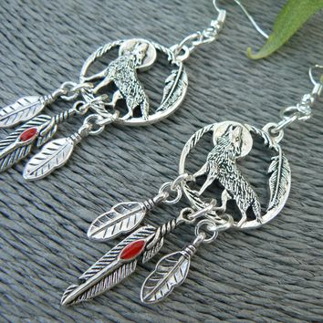 Moon and Wolf Dreamcatcher Earrings Red Feather Tribal Earrings