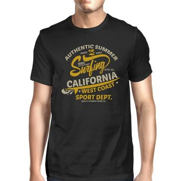 Authentic Summer Surfing California Mens Black Shirt