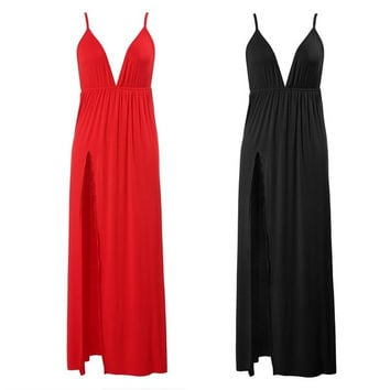 Women Sleeveless Sexy Deep V-Neck Spaghetti Strap Backless Long Maxi Dress  7_S = 1905839812