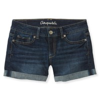 Aeropostale  Womens Cuffed Dark Wash Denim Boyfriend Shorts