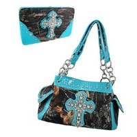 Deep Forest Camouflage Rhinestone Cross Purse / Wallet Set Turquoise Blue Trim