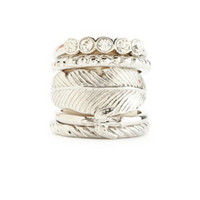 BIRD & FEATHER STACKABLE RINGS - 5 PACK