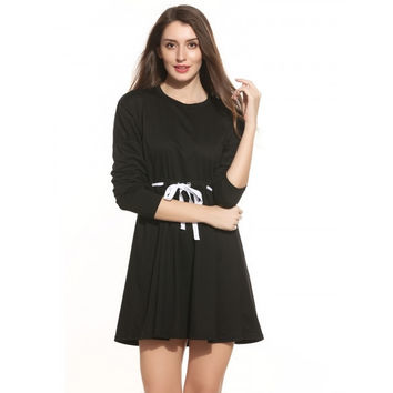 Women Drop-Shoulder Batwing Sleeve Solid Drawstring Waist Casual Dress