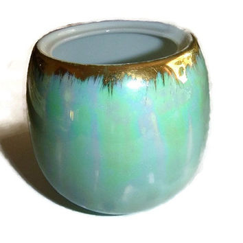 Vintage Lustreware Vase Seafoam Green Japan Porcelain Lustreware Bowl Aqua Ceramic Japan Lustreware Jar Pottery Home Decor Small Planter