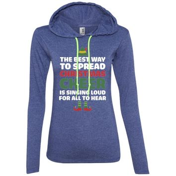 Black Cotton T-Shirt - Best Way to Spread Christmas Cheer Graphic Tee-01 887L Anvil Ladies' LS T-Shirt Hoodie