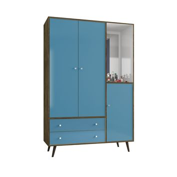 "47.83"" Mid Century- Modern Armoire w/ Mirror, 4 Shelves, 2 Draweres & Hanging Rod-Brown & Blue"