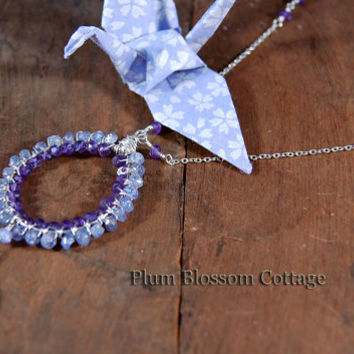Hand Wire Wrapped Hoop Necklace with Tanzanite & Amethyst Faceted Rondelles, Chalcedony Briolette, Long Layering Necklace Sterling Silver