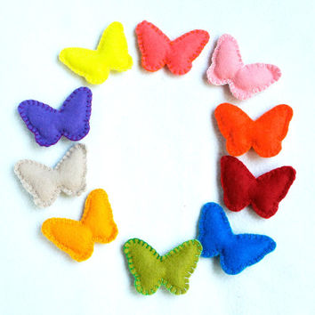 Butterfly wool felt  ornaments set of 10 varicoloured Wedding Christmas Birthday gift ornament home decoration nursery decor girland