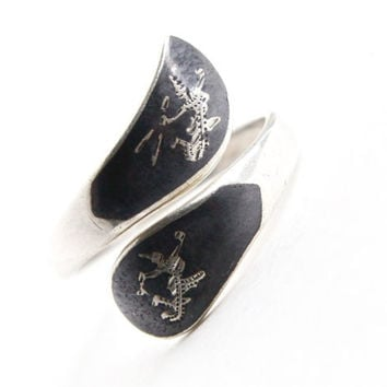 Vintage Sterling Silver Siam Ring - Adjustable Black Gray Enamel Thai Wrap Bypass Jewelry / Dancing Goddesses