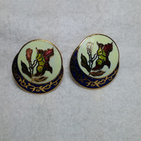 Clip on Cloisonne Flower Earrings