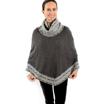 Baby Alpaca Knitted Poncho with Cowl Neck - Grey