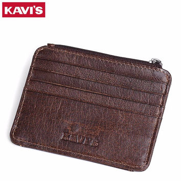 KAVIS Cow Leather Credit Card Wallet Multifunction Credit ID Cards Holder Small Wallet Purse Luxury Brand Cards Wallets