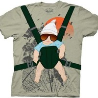 The Hangover Alan Baby Bjorn With Graphic Human Tree Dark Khaki Adult Costume T-Shirt - The Hangover Costume - | TV Store Online