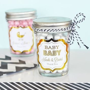 Personalized Metallic Foil Mini Mason Jars - Baby