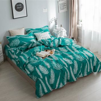 Home textile fresh leaf bedding set green king queen twin full Luxury fashion Adults Summer duvet cover bed flat sheet bed linen