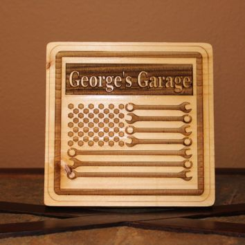 Personalized Garage Workshop Wrench Flag Wood Engraved Wall Plaque Art Sign