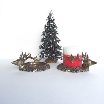 Reindeer or Stag Pillar Candle Holders