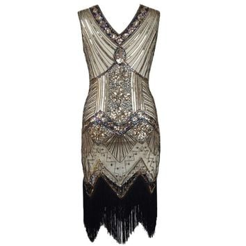 1920s Great Gatsby Sequined Embellished Fringed Dress