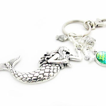 Mermaid Keychain with lots of Beach Charms