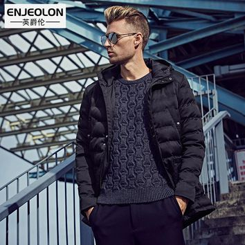 Cotton Padded Hooded Jacket Men windproof Parka Men Clothing Thick Quilted black Hoodies Coat male