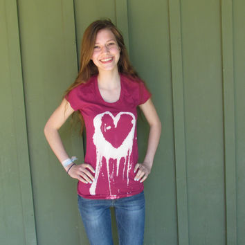 Hand Painted Dripping/Melting/Crying Heart, Hipster, Grunge, Punk, Cute, Cool, Girly, Pretty, Pink, Splatter Tie Dye T- Shirt