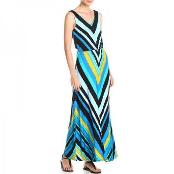 Pullovers Round Neck Sleeveless Big Size Printing Empire Waist Long Print Dresses