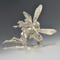 Silver Pixie Fairy Brooch Vintage Tinkerbell Pin