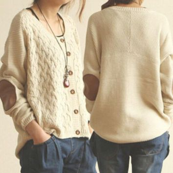 VLXJBY Knit Sweaters Elbow Patches Buttons Cardigan Jacket Coat Knitwear