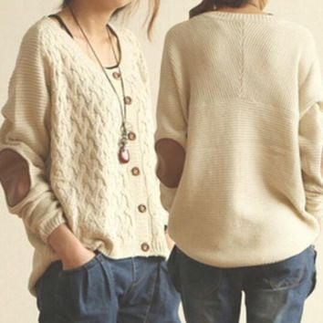 DCCKOB6D Knit Sweaters Elbow Patches Buttons Cardigan Jacket Coat Knitwear