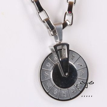 VujuWear Stainless Steel Horoscope Disc Men's Necklace from VujuWear