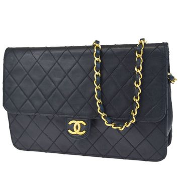Authentic CHANEL CC Matelasse Quilted Chain Shoulder Bag Leather Black 39ED948