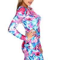 Sexy Fuchsia Blue Long Sleeves Watercolor Print Party Dress