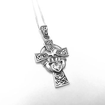 Claddagh Heart Cross Celtic Knot Pendant, Claddagh Heart Cross Celtic Knot Necklace, Celtic Cross, Claddagh Cross Pendant, Cross Jewelry,