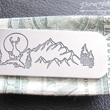 Hunting Gifts for Boyfriend, Hunting Groomsman Gift, Groom Gift from Wife, Mountain Man Gifts, Hunting Wedding Gift, Hunting Money Clip