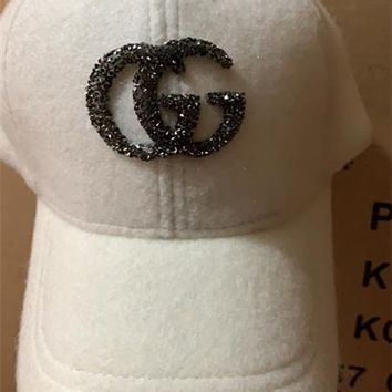 """GG"" Women Casual Fashion Diamond Letter Logo Baseball Cap Flat Cap Sun Hat"