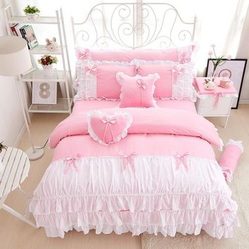 Cool 100% Cotton pink purple king queen twin single Double size girls bedding set ruffles korean bed set bedsheet set duvet coverAT_93_12