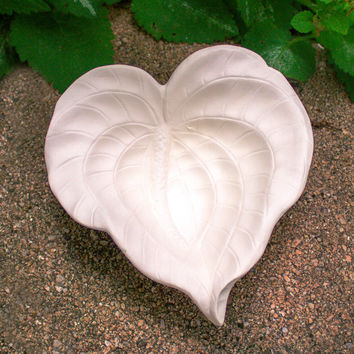 "Heart Shape Leaf Bowl 5.25"" Ready to Paint Ceramic Bisque"